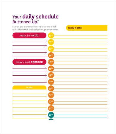 hourly schedule calendar3