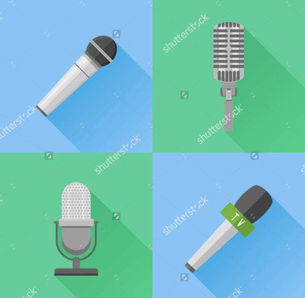 Retro Microphone Icons Set