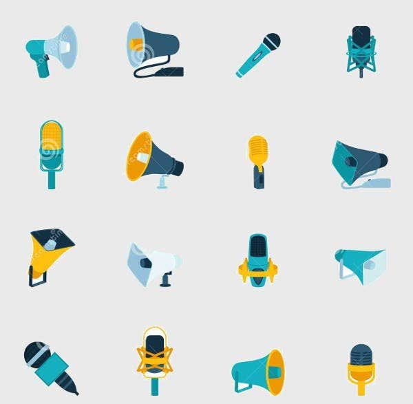 Microphone and Megaphone Icons Pack