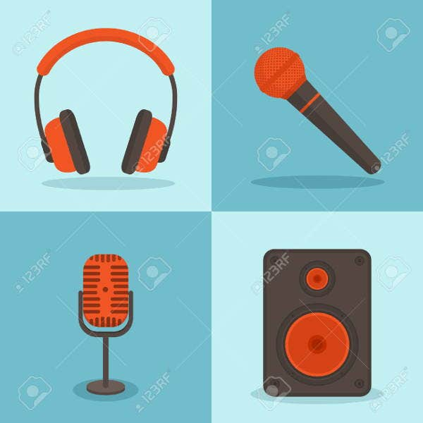 Microphone and Speakers Icons