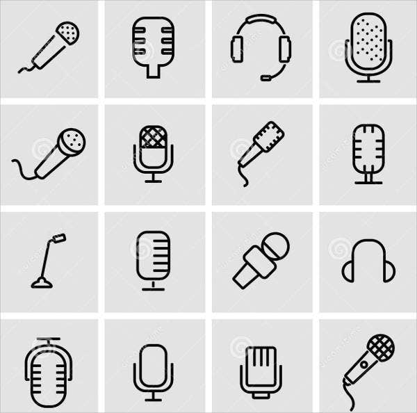 Microphone Thin Line Icons