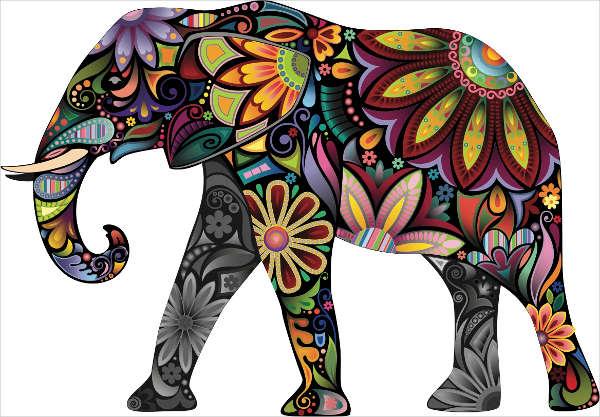 Floral Elephant Art