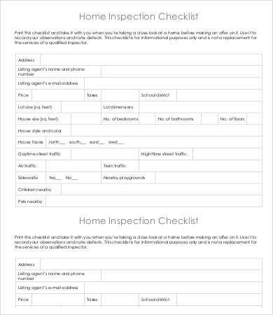 Inspection Checklist Template - 9+ Free Word, Pdf Documents