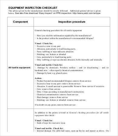 Equipment Inspection Checklist Template