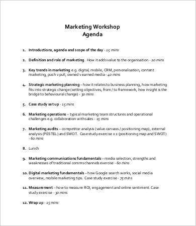 Workshop Agenda Template - 9+ Free Word, Pdf Documents Download