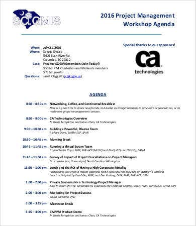 project management workshop agenda template