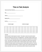 time on task analysis word format min