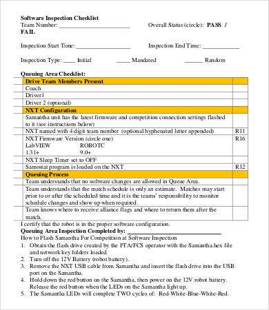 Inspection Checklist Template   Free Word Pdf Documents