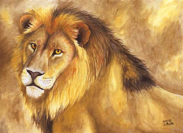 Watercolor Lion Art