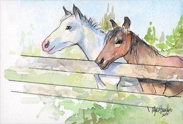 Watercolor Sketch of Horse