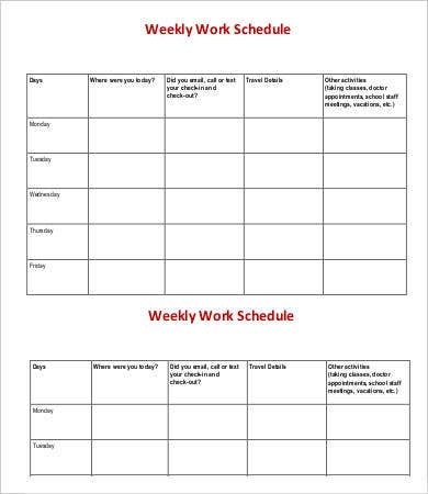 Weekly Schedule Template   Free Word Pdf Documents Download