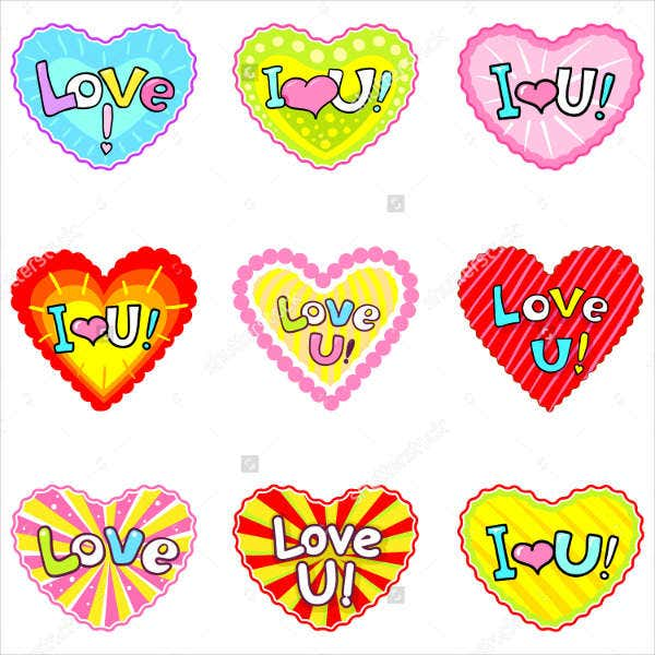 love heart stickers