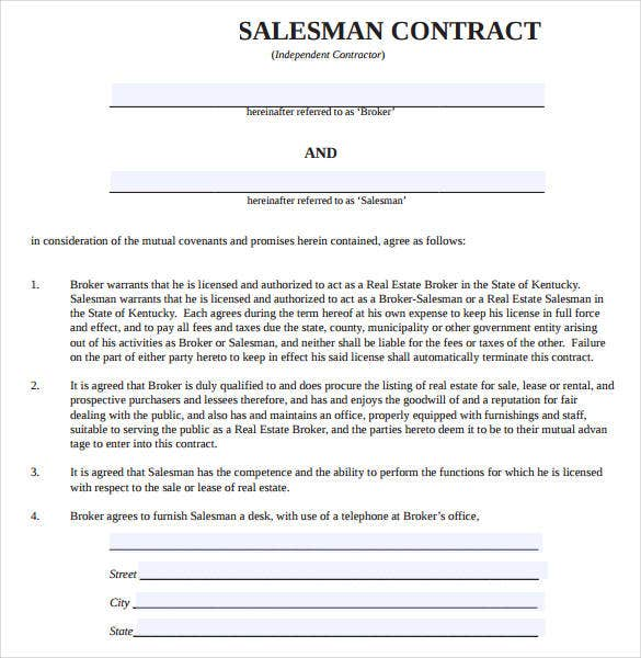 salesman-contract-template