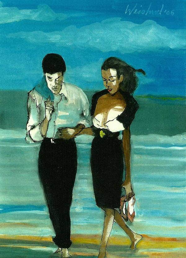 black couple art painting