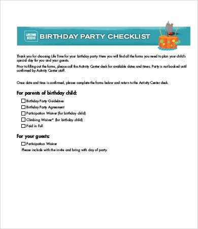Party Checklist Template   Free Word Pdf Documents Download