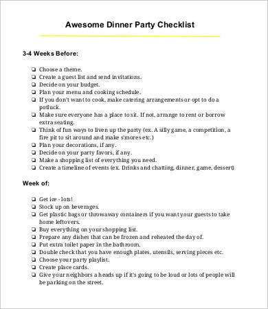 dinner party checklist template
