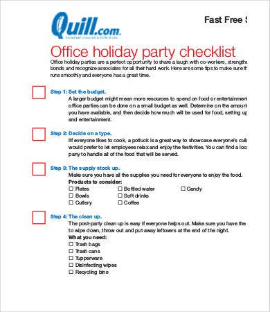 holiday party checklist template