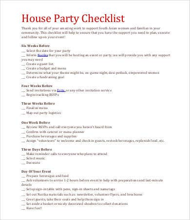 house party checklist template