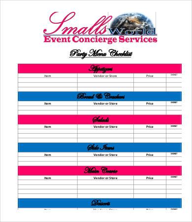 party menu checklist template