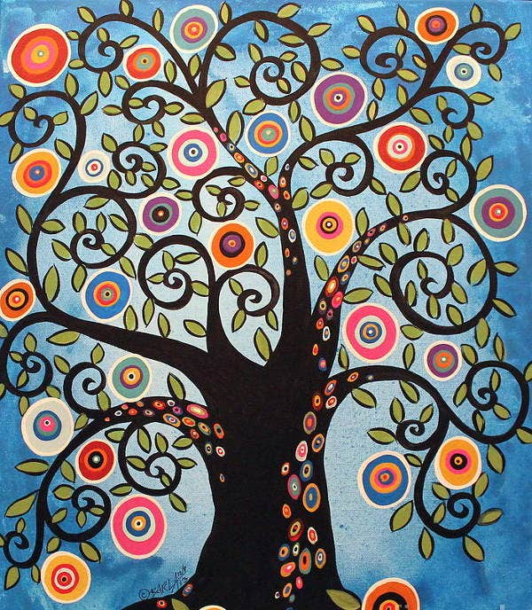 black swirl tree art painting