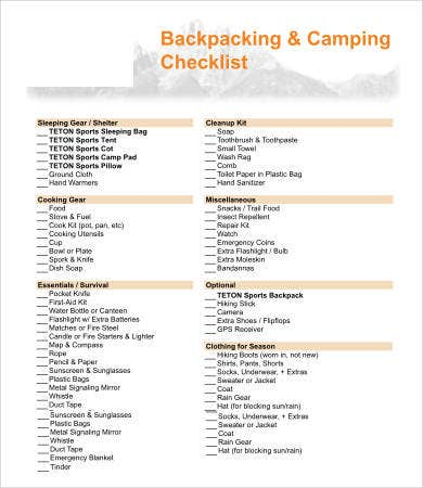 Sample Camping Checklist Checklists For Packing Restocking What To