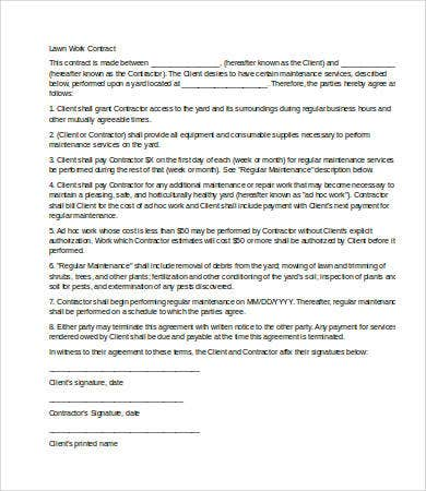 9 service contract templates free sample example for Garden maintenance contract template