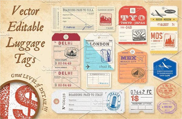 picture relating to Free Printable Luggage Tags identified as 10+ Baggage Tag Templates Cost-free High quality Templates