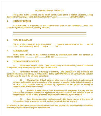 Service Contract Templates  Free Sample Example Format