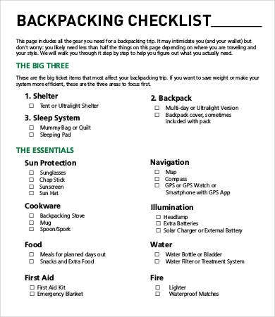 Backpacking Checklist Template   Free Word Pdf Documents