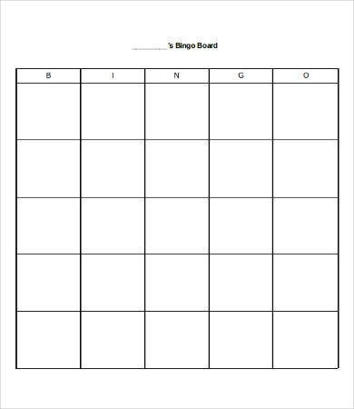 Blank Bingo Card Template