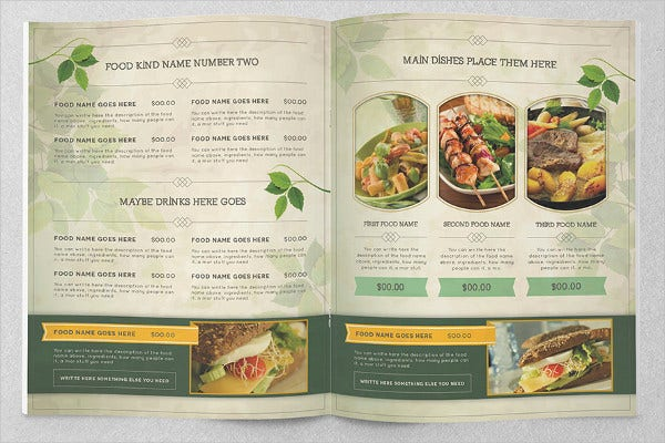 Food brochure templates 7 free psd vector ai eps for Free food brochure templates