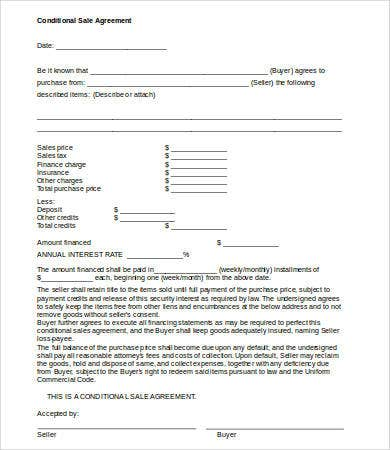 Conditional Sales Agreement Template Nice Look