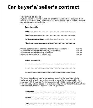 Sale Contract Sample