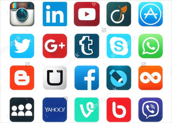 social media icons printed on white paper