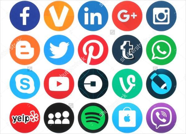 round social media icons