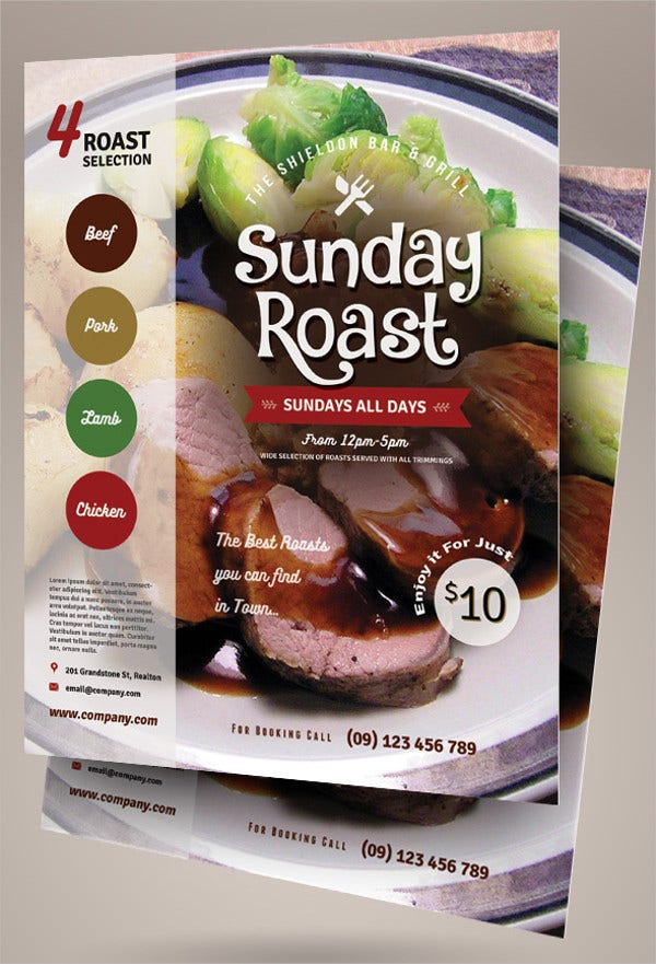 sunday roast flyer template