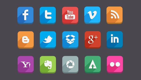 set of social media vector icons