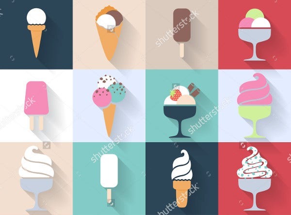 Ice Cream Icons Set in Flat Style