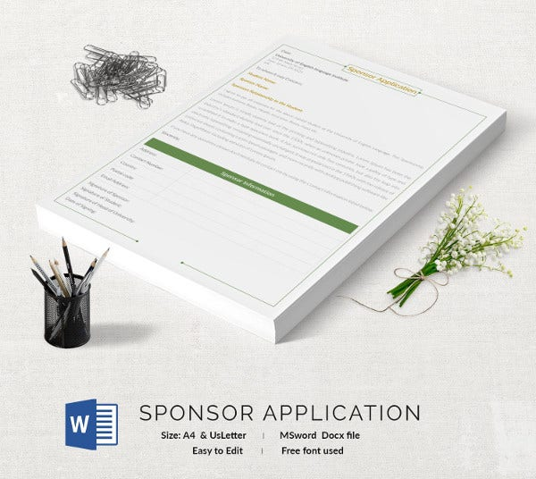 Sponsor Application Template