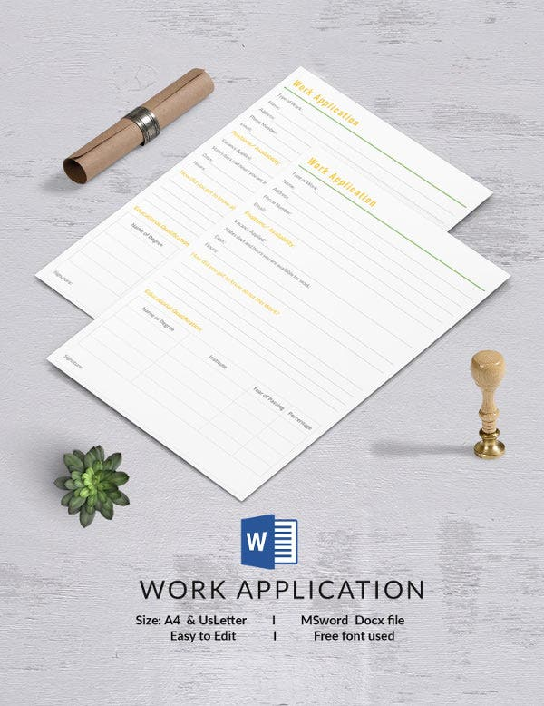 Work Application Template