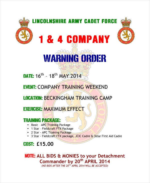 company warning order sample