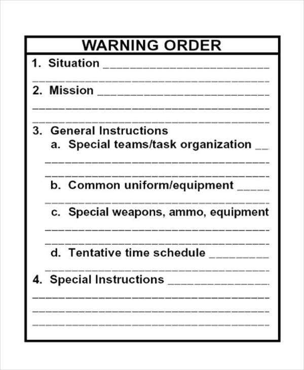 Fillable Warning Order Template