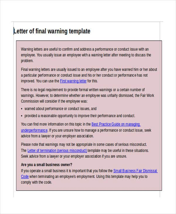 legal warning order template