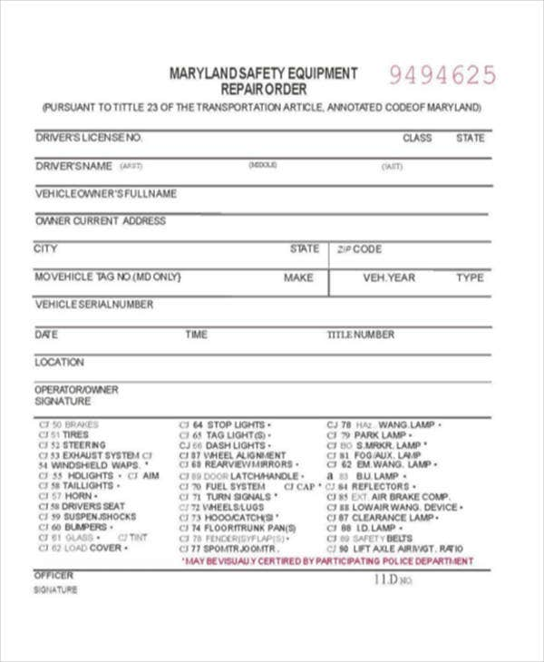 Warning Equipment Repair Order Template