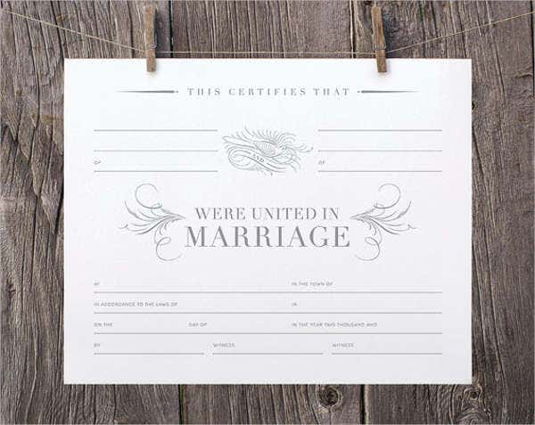 Printable Marriage Certificate  Free  Premium Templates