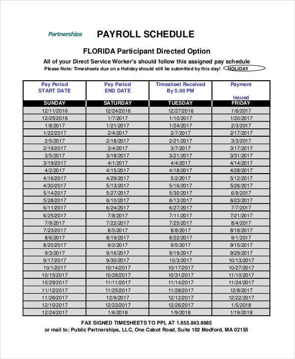 partnership payroll schedule