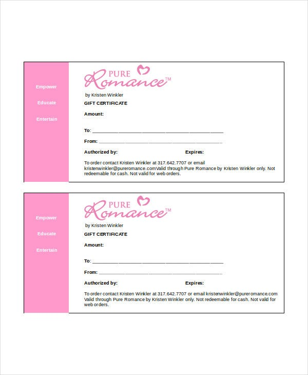 printable gift certificate template in word