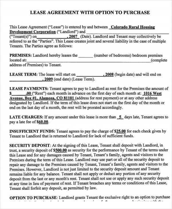Rent To Own Home Contract Template  Lease To Buy Agreement Template