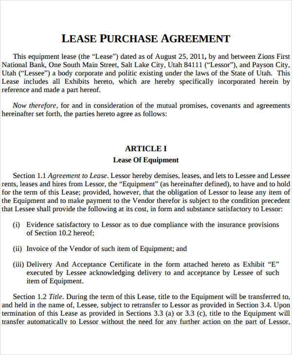 Equipment lease to own for Rent to buy contract template