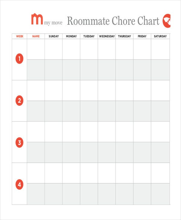 printable household roomamte chore chart